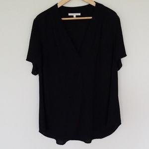 Daniel Rainn black short sleeve v neck blouse 1X